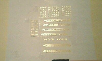GOLD METALLIC WATER DECAL:LIONEL STANDARD GAUGE 418-419-490 PASS. SET SERIF LOOK