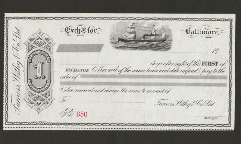 Vintage Furness Whity &  Co. Unused Mint SHIP Illustrated paper Bond ? Check ?