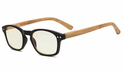 Computer Reading Glasses With Bamboo-look Temples Yellow Tinted (Bamboo Reading Glasses)
