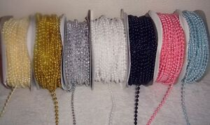 PEARL-BEAD-STRING-3mm-x-3-Metre-length-Pink-Ivory-white-blue-silver-gold