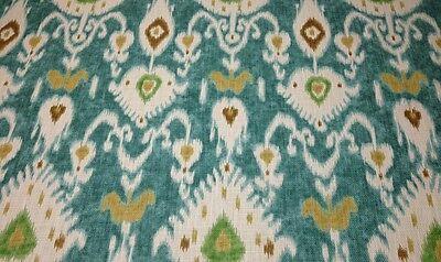 Ballard Designs Balboa Ikat Turquoise Mediterranean Ikat Fabric 7 Yards 54 W