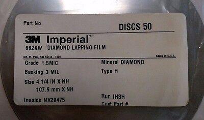 3m Diamond Lapping Film Discs 662xw 1.5mic 3mil 4-14xnh Fiber Optic 50 Discs