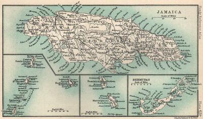 British West Indies. Jamaica Bermuda. St Vincent Barbados St Lucia 1904 map
