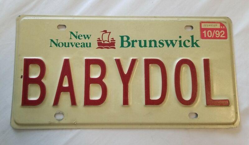 1992 92 New Brunswick Canada Vanity License Plate BABYDOL