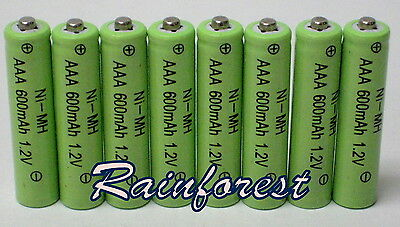 8 pcs AAA Rechargeable Batteries Ni-MH 600mAh 1.2v for Garden Solar light  on Rummage
