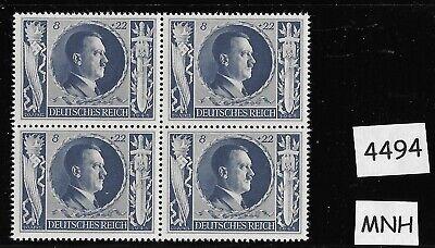 MNH  stamp PF08 + PF22 block Hitler 1943 Birthday / WWII Germany / Third Reich Blue Birthday Block