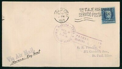 MayfairStamps Habana 1927 to Key West Florida Aviation First Flight Cover wwo308