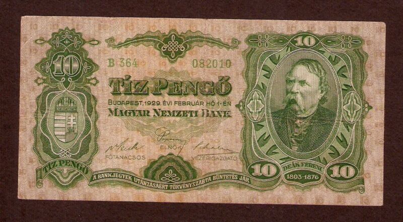 Hungary Ungarn 10 Pengo 1929 . Very scarce banknote . Pick # 96