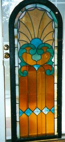 Two Vintage Arched Stained Glass Panels 62 1/2 x 23 1/2