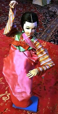 """Vintage 20"""" Large Handmade Asian or Cultural Doll Wood Stand"""