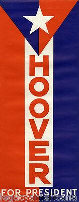 Unusual Large 1928 Herbert HOOVER FOR PRESIDENT Car Window Sticker (5146)