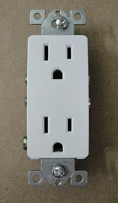 Decorative decora 15 amp white duplex outlet plug receptacle 18-15DDR-WH