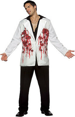 Bullets Blazer White Gangster Scarface Fancy Dress Up Halloween Adult Costume (Scarface Fancy Dress Kostüm)
