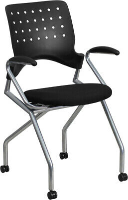 Mobile Stackable Nesting Office Chair With Arms Black Fabric Seat Cushion