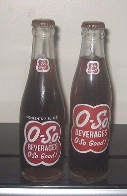 (2) Different Full (Root Beer) O-SO Cleveland Ohio 7oz  ACL Soda Bottles Nice!