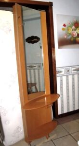 Used Tall Hallway/Entry Wall Mirror with hooks, shelves, drawer
