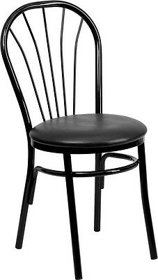 Fan Back Metal Restaurant Chair - Black Vinyl Seat