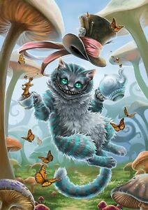 CHESHIRE CAT ALICE IN WONDERLAND ART IMAGE A4 Poster Gloss Print Laminated