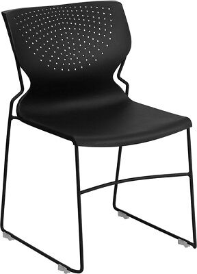 Heavy Duty Black Plastic Sled Base Stack Office Chair - Waiting Room Chair