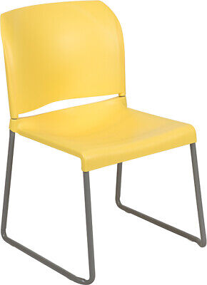 Heavy Duty Yellow Stack Office Chair With Sled Metal Base - Waiting Room Chair