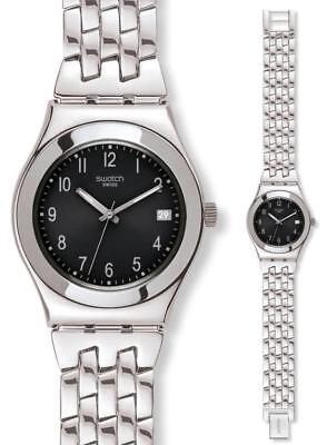 New Swatch Irony Follow Ways Steel Band Date Women Watch 35mm YLS168G $120
