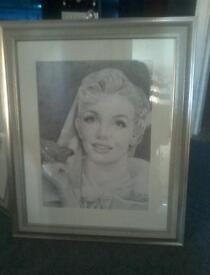 Marilyn Monroe pencil portrait framed original not print
