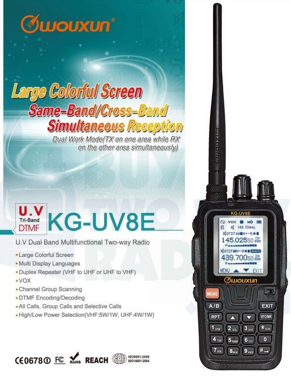 Details about Wouxun KG-UV8E Tri-Band 1 25m/2m/70cm VHF/UHF Two Way Radio