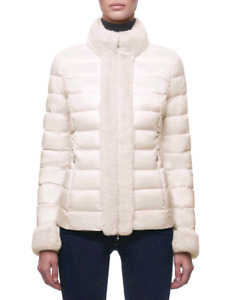 Geox Blenda Woman W8425F down jacket with fur coat sz 10 medium