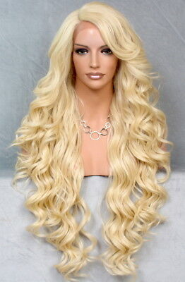 Human Hair Blend Mono Top Full Lace Front Wig Curly Pale Blonde Heat OK WBPR 613