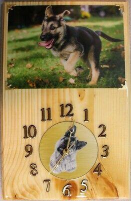 German Shepherd puppy wood clock