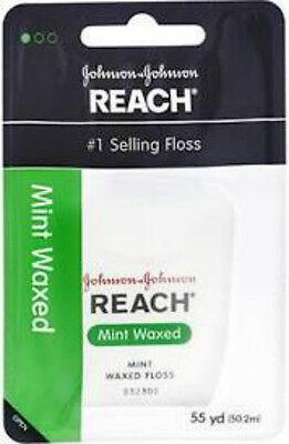 Johnson & Johnson Reach Mint Waxed Dental Floss, 55 Yards ( Pack of 6)