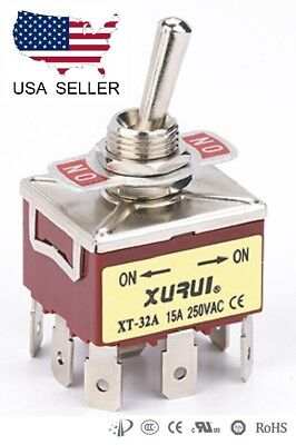 Heavy Duty 3pdt On-on Toggle Switch 20a 125v 15a 250v Spade Terminals 32a