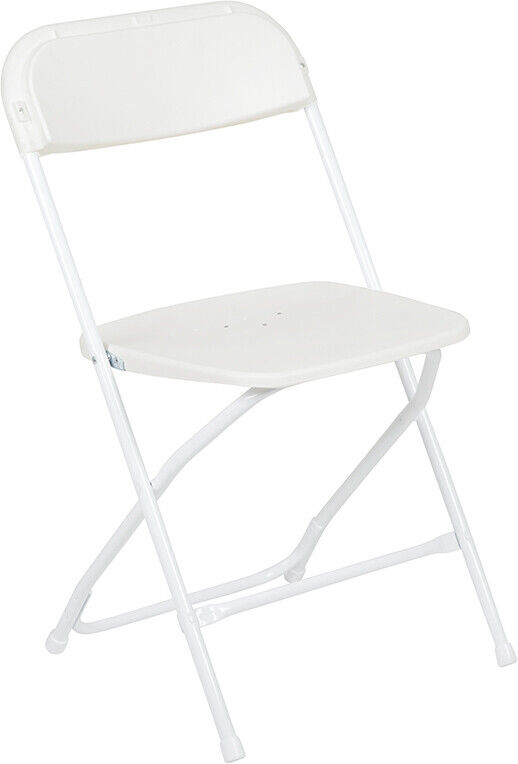 10 White folding Chairs New