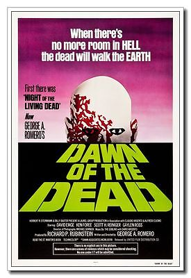 1978 Dawn of the Dead 24x16 inch Old Movie Silk Poster Horror Zombie Wall Decals - Old Zombie Movies