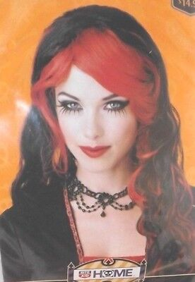 Halloween Costumes Red Wigs (Sweet Sorcery Halloween Wig Red/Black Adult Witch Costume Party Trick or Treat)
