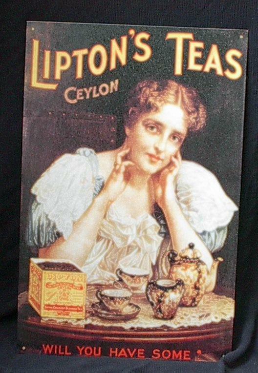 Lipton Tea Nostalgic Tin Sign! Never displayed!