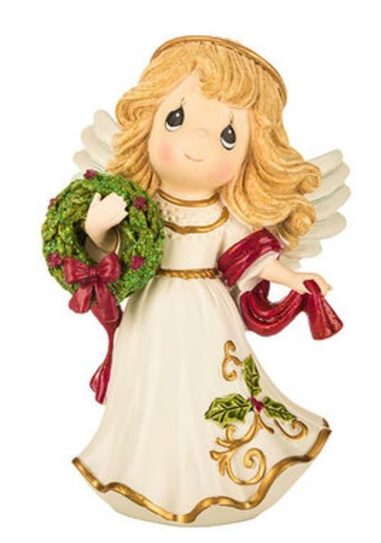 Precious Moments Angel Resin 2018 Holding Christmas Wreath