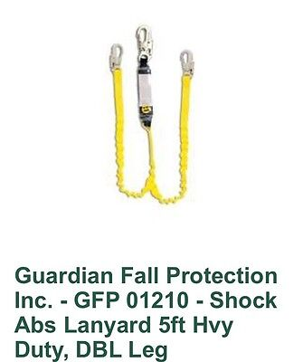 2 Guardian Fall Protection 01210 Hvy Dty 5 Double Leg Shock Absorbing Lanyards