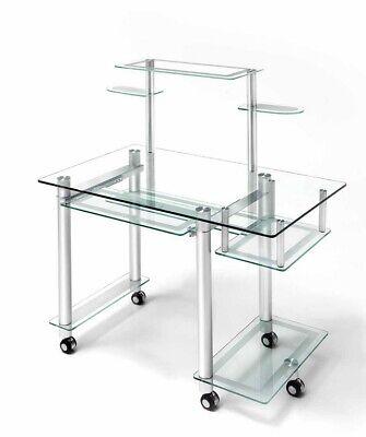 MESA DE OFICINA PENDRIVE en aluminio y cristal. Ideal para tu hogar