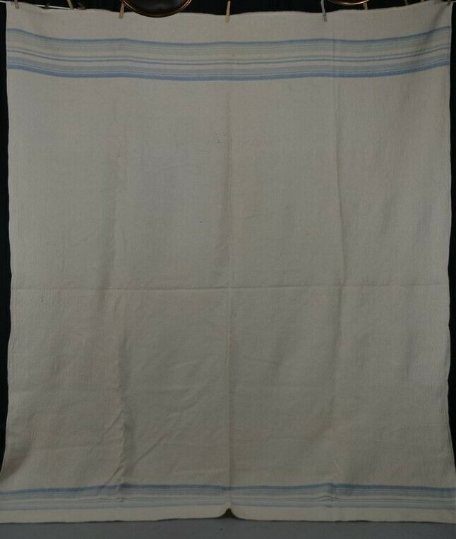 antique blanket wool hand woven home spun museum 71x91 white blue original