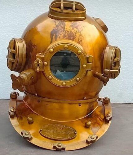 Antique Brass Scuba Deep Diving Helmet Mark Morse SCA Divers Vintage Table Gift