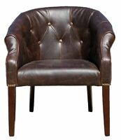 2 x Antique Leather Tub Chair in Distress Brown or Distress Blac