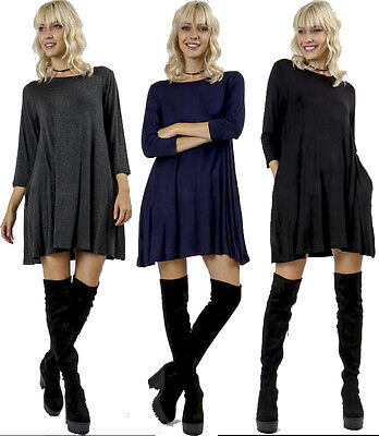 Flared Loose Fit Relax Pockets 3 4 Sleeve Flowy Long Tee Mini Dress Top Tunic