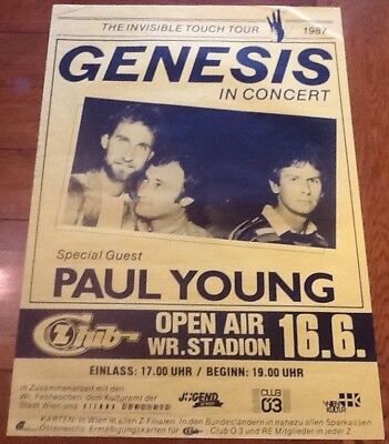 Genesis Paul Young Concert Tour Gig Poster Wr. Stadion Wien Vienna 1987