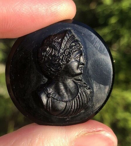 """Antique mourning cameo brooch """"Mother of Gods"""""""