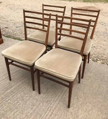 4 vintage mid century Meredew teak dining chairs - Delivery Available