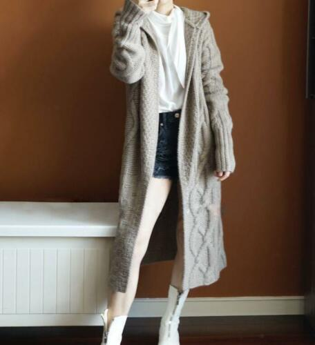 women top cashmere cardigan sweater very long cashmere sweater trench coat O08