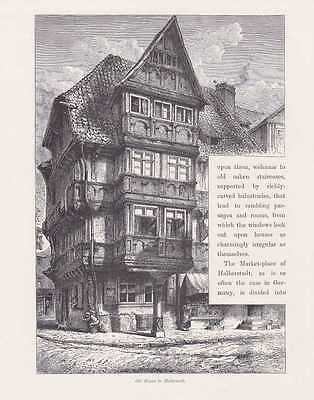 Halberstadt Altstadt Fachwerkhaus HOLZSTICH um 1880 Halwerstidde