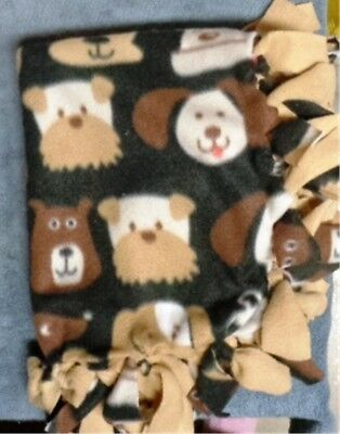 NEW Handmade Puppy Dog Blanket ~ Multi Cute Dog Faces ~ Earth Tones ~ Tan Back