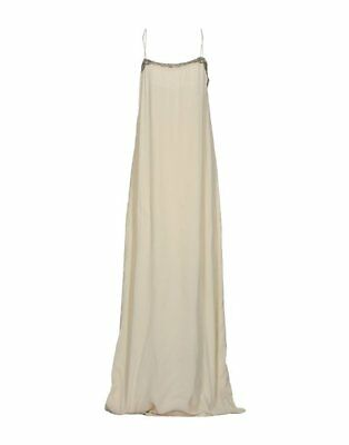NEW INTROPIA IVORY BEADED SEQUIN LONG MAXI DRESS SIZE 10 EUR 40